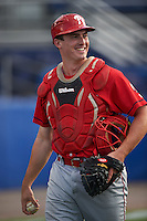 Williamsport Crosscutters catcher Austin Bossart (47) during practice before a game against the Batavia Muckdogs on August 27, 2015 at Dwyer Stadium in Batavia, New York.  Batavia defeated Williamsport 3-2.  (Mike Janes/Four Seam Images)