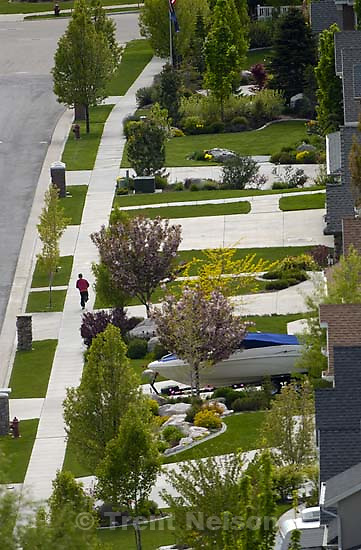Looking down into a suburban neighborhood, Fruit Heights. Davis County project. bikes, walking, skateboard, scooter<br />