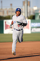Richie Martin (21) of the Stockton Ports runs the bases during a game against the Lancaster JetHawks at The Hanger on May 26, 2016 in Lancaster, California. Stockton defeated Lancaster, 16-7. (Larry Goren/Four Seam Images)