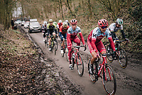 Viacheslav Kuznetsov (RUS/Katusha-Alpecin), Tony Martin (GER/Katusha-Alpecin) & Co up the muddy Karnemelkbeekstraat<br /> <br /> 61th E3 Harelbeke (1.UWT)<br /> Harelbeke - Harelbeke (206km)