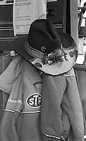 Richard Petty's hat and jacket in garage Motorcraft 500 at Atlanta International Raceway in Hampton, GA on March 16, 1986.   (Photo by Brian Cleary/www.bcpix.com)