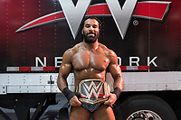 WWE Champion Jinder Mahal poses for portraits with his Championship belt backstage before a match at a WWE Live Summerslam Heatwave Tour event at the MassMutual Center in Springfield, Massachusetts, USA, on Mon., Aug. 14, 2017.