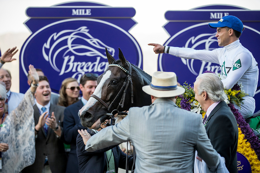 ARCADIA, CA - NOVEMBER 5: Tourist #5, ridden by Joel Rosario wins the the Breeders' Cup Mile during day two of the 2016 Breeders' Cup World Championships at Santa Anita Park on November 5, 2016 in Arcadia, California. (Photo by Ale Evers/Eclipse Sportswire/Breeders Cup)