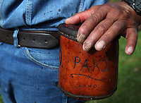 "Bernard Ho'opai, who comes from a four generation paniolo family, puts his hand on the leather pouch where he places calf testicles or ""laho"" while castrating calves at Ponoholo Ranch in North Kohala, Hawaii.  The ""laho"" are later cleaned and cooked with garlic salt and oil directly over the branding fire and eaten as a delicacy.  Like many of the cowboys, Ho'opai has suffered many injuries over the years including damaged fingers and nails."