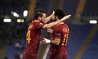 Calcio, Europa League, Gguppo E: Roma vs Austria Vienna. Roma, stadio Olimpico, 20 ottobre 2016.<br /> Roma's Alessandro Florenzi, left, celebrates with teammate Mohamed Salah after scoring during the Europa League Group E soccer match between Roma and Austria Wien, at Rome's Olympic stadium, 20 October 2016. The game ended 3-3.<br /> UPDATE IMAGES PRESS/Isabella Bonotto