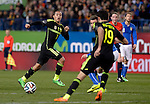 Tiago Alcantara vies with Diego Costa during the FIFA friendly football match Spain vs Italy on March 5, 2014 on the eve of their World Cup 2014 at the Vicente Calderon stadium in Madrid.  PHOTOCALL3000 / DP