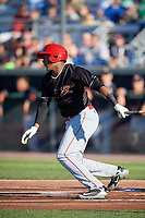 Batavia Muckdogs right fielder Jerar Encarnacion (27) hits a single during a game against the Auburn Doubledays on June 15, 2018 at Falcon Park in Auburn, New York.  Auburn defeated Batavia 5-1.  (Mike Janes/Four Seam Images)