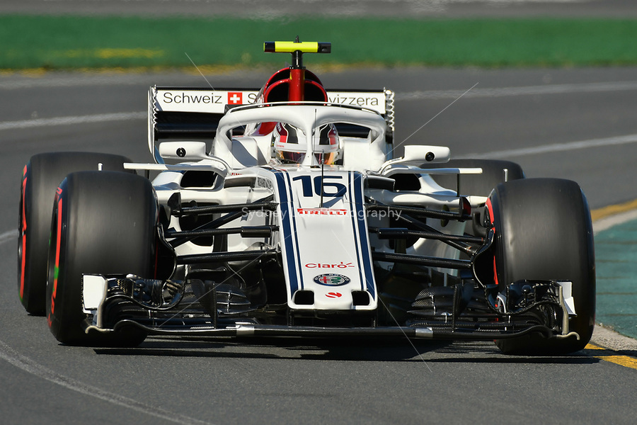 March 23, 2018: Charles Leclerc (MCO) #16 from the Alfa Romeo Sauber F1 Team during practice session one at the 2018 Australian Formula One Grand Prix at Albert Park, Melbourne, Australia. Photo Sydney Low