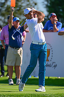 Charl Schwartzel (RSA) watches his tee shot on 7 during round 1 foursomes of the 2017 President's Cup, Liberty National Golf Club, Jersey City, New Jersey, USA. 9/28/2017.<br /> Picture: Golffile   Ken Murray<br /> ll photo usage must carry mandatory copyright credit (&copy; Golffile   Ken Murray)
