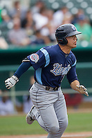 Corpus Christi Hooks outfielder Leo Heras (8) runs to first base during the Texas League baseball game against the San Antonio Missions on May 10, 2015 at Nelson Wolff Stadium in San Antonio, Texas. The Missions defeated the Hooks 6-5. (Andrew Woolley/Four Seam Images)