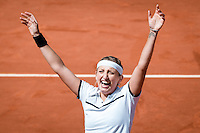 June 3, 2015: Timea Bacsinszky of Switzerland celebrates after winning a Quarterfinal match against Alison Van Uytvanck of Belgium on day eleven of the 2015 French Open tennis tournament at Roland Garros in Paris, France. Sydney Low/AsteriskImages