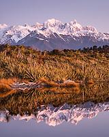 Purple twilight at Three Mile Lagoon near Okarito, Westland Tai Poutini National Park, West Coast, UNESCO World Heritage Area, South Westland, New Zealand, NZ