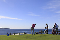 Kevin Streelman (USA) tees off the par3 the 7th tee during Sunday's Final Round of the 2018 AT&amp;T Pebble Beach Pro-Am, held on Pebble Beach Golf Course, Monterey,  California, USA. 11th February 2018.<br /> Picture: Eoin Clarke | Golffile<br /> <br /> <br /> All photos usage must carry mandatory copyright credit (&copy; Golffile | Eoin Clarke)