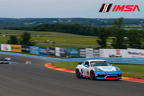 IMSA Continental Tire SportsCar Challenge<br /> Continental Tire 120 at The Glen<br /> Watkins Glen International, Watkins Glen, NY USA<br /> Thursday 29 June 2017<br /> 46, Porsche, Porsche Cayman GT4, GS, Ted Giovanis, Guy Cosmo<br /> World Copyright: Jake Galstad/LAT Images