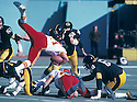 Pittsburgh Steelers Jack Lambert(58) in action during a game from the 1978 season against the Kansas City Chiefs at Three Rivers Stadium in Pittsburgh, Pennsylvania.  The Steelers beat the Chiefs 27-24. Jack Lambert played for 11 years, all with the Pittsburgh Steelers was inducted to the Pro Football Hall of Fame in 1990. David Durochik/SportPics