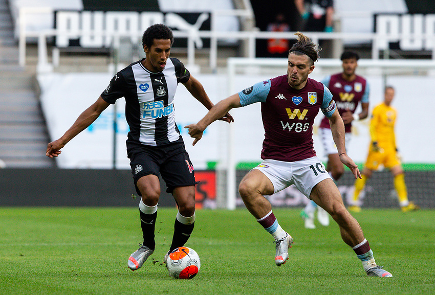 Newcastle United's Isaac Hayden battles with Aston Villa's Jack Grealish<br /> <br /> Photographer Alex Dodd/CameraSport<br /> <br /> The Premier League - Newcastle United v Aston Villa - Wednesday 24th June 2020 - St James' Park - Newcastle <br /> <br /> World Copyright © 2020 CameraSport. All rights reserved. 43 Linden Ave. Countesthorpe. Leicester. England. LE8 5PG - Tel: +44 (0) 116 277 4147 - admin@camerasport.com - www.camerasport.com