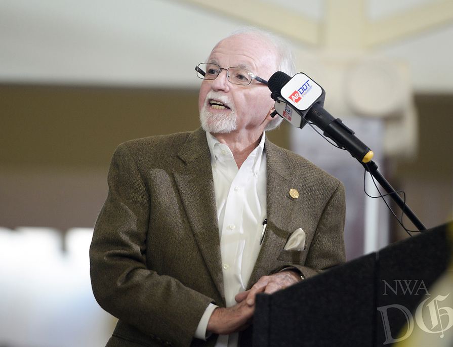NWA Democrat-Gazette/CHARLIE KAIJO Outgoing Arkansas Highway Commission Chair Dick Trammel speaks during a ribbon cutting, January 4, 2019 at the Jones Center in Springdale. <br /><br />State highway and local officials held a ribbon cutting to mark the opening of a new section of Arkansas 265 that will carry traffic on the north-south corridor into downtown Rogers.
