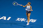 Elena Vesnina of Russia hits a return during the singles Round Robin match of the WTA Elite Trophy Zhuhai 2017 against Shuai Peng of China at Hengqin Tennis Center on November  03, 2017 in Zhuhai, China.  Photo by Yu Chun Christopher Wong / Power Sport Images