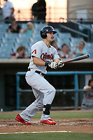Grant Heyman (34) of the Visalia Rawhide bats against the Lancaster JetHawks at The Hanger on August 9, 2017 in Lancaster, California. Lancaster defeated Visalia, 7-4. (Larry Goren/Four Seam Images)