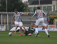 Graham Carey (left) beats Eoin Doyle in the St Mirren v Hibernian Clydesdale Bank Scottish Premier League match played at St Mirren Park, Paisley on 18.8.12.