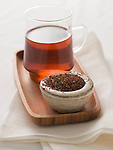 Rooibos tea, and glass of brewed tea.
