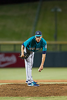 AZL Mariners relief pitcher Jorge Benitez (9) looks to his catcher for the sign against the AZL Cubs on August 4, 2017 at Sloan Park in Mesa, Arizona. AZL Cubs defeated the AZL Mariners 5-3. (Zachary Lucy/Four Seam Images)