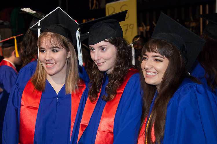 Students wait backstage, Saturday, June 10, 2017, before the DePaul University College of Education commencement ceremony at the Rosemont Theatre in Rosemont, IL. (DePaul University/Jeff Carrion)