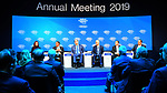 Palestinian Prime Minister Rami Hamdallah (3rd right) attends a panel session of the 49th annual meeting of the World Economic Forum, WEF, in Davos, Switzerland, 22 January 2019. The meeting brings together entrepreneurs, scientists, corporate and political leaders in Davos under the topic 'Globalization 4.0' from 22 - 25 January 2019. Photo by Prime Minister Office