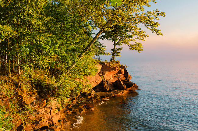 Big Bay Point lights up in early morning light, Big Bay State Park, Madeline Island, Ashland County, Wisconsin