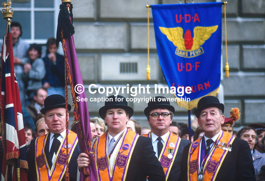 Orangemen Attend Anti Anglo Irish Agreement Rally Belfast N Ireland