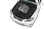 Car Stock 2015 Lexus IS 350C 2 Door Coupe Engine high angle detail view