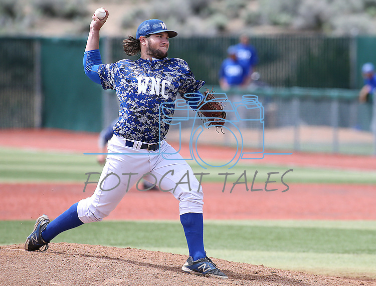 Western Nevada's Ty Fox pitches against College of Southern Nevada at WNC, in Carson City, Nev. on Friday, May 6, 2016. <br />Photo by Cathleen Allison/Nevada Photo Source