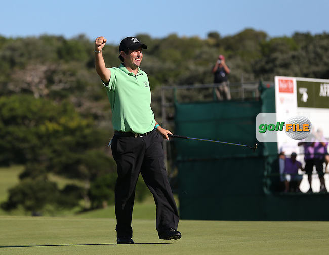 Thomas Aiken (RSA) celebrates winning the Final Round play-off against Oliver Fisher (ENG) at The Africa Open 2014 at the East London Golf Club, Eastern Cape, South Africa. Picture:  David Lloyd / www.golffile.ie