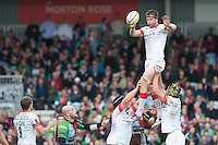 Ernst Joubert of Saracens wins the lineout during the Aviva Premiership match between Harlequins and Saracens at the Twickenham Stoop on Sunday 30th September 2012 (Photo by Rob Munro)