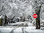 Historic village of Volcano, during a rare winter snow, Amador County, Calif.