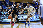 29 January 2015: Pitt's Brianna Kiesel (3) and Duke's Ka'lia Johnson (14). The Duke University Blue Devils hosted the University of Pittsburgh Panthers at Cameron Indoor Stadium in Durham, North Carolina in a 2014-15 NCAA Division I Women's Basketball game. Duke won the game 62-45.