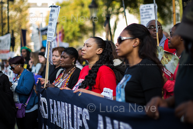 London, 31/10/2015. Today, the annual march of the &quot;United Families and Friends Campaign&quot; (UFFC) took place from Trafalgar Square to Downing Street. The aim of the rally is to remember those who have died in the custody of police and prison officers as well as those who are killed in immigration detention and secure psychiatric hospitals, and to demand justice for the families who believe that investigations into the deaths have not revealed the truth. The UFFC includes the families of Roger Sylvester, Leon Patterson, Rocky Bennett, Alton Manning, Christopher Alder, Brian Douglas, Joy Gardner, Aseta Simms, Ricky Bishop, Paul Jemmott, Harry Stanley, Glenn Howard, Mikey Powell, Jason McPherson, Lloyd Butler, Azelle Rodney, Sean Rigg, Habib Ullah, Olaseni Lewis, David Emmanuel (aka Smiley Culture), Kingsley Burrell, Demetre Fraser, Mark Duggan, Rebecca Louise Overy, Sheku Bayoh, Anthony Grainger, the 96 People who died at the Hillsborough Stadium, to name but a few. Together they have built a network for collective action to end deaths in custody.<br /> <br /> For more information about this campaign please click here: http://uffcampaign.org/ &amp; http://on.fb.me/1Rkttha