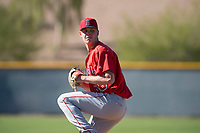 Los Angeles Angels relief pitcher Dustin Hunt (68) during a Minor League Spring Training game against the Chicago Cubs at Sloan Park on March 20, 2018 in Mesa, Arizona. (Zachary Lucy/Four Seam Images)