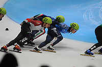 SHORTTRACK: DORDRECHT: Sportboulevard Dordrecht, 24-01-2015, ISU EK Shorttrack, Sandor LIU SHAOLIN (HUN | #37), Tommaso DOTTI (ITA | #41), Victor AN (RUS | #60), ©foto Martin de Jong