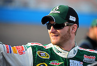 Nov. 13, 2009; Avondale, AZ, USA; NASCAR Sprint Cup Series driver Dale Earnhardt Jr during qualifying for the Checker O'Reilly Auto Parts 500 at Phoenix International Raceway. Mandatory Credit: Mark J. Rebilas-