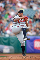 Gwinnett Braves starting pitcher Luiz Gohara (52) delivers a pitch during a game against the Buffalo Bisons on August 19, 2017 at Coca-Cola Field in Buffalo, New York.  Gwinnett defeated Buffalo 1-0.  (Mike Janes/Four Seam Images)