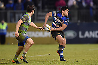 Ben Tapuai of Bath Rugby looks to pass the ball. Anglo-Welsh Cup match, between Bath Rugby and Newcastle Falcons on January 27, 2018 at the Recreation Ground in Bath, England. Photo by: Patrick Khachfe / Onside Images