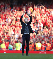 Arsenal manager Arsene Wenger acknowledges the fans at the end of the game<br /> <br /> Photographer Rob Newell/CameraSport<br /> <br /> The Premier League - Arsenal v Burnley - Sunday 6th May 2018 - The Emirates - London<br /> <br /> World Copyright &copy; 2018 CameraSport. All rights reserved. 43 Linden Ave. Countesthorpe. Leicester. England. LE8 5PG - Tel: +44 (0) 116 277 4147 - admin@camerasport.com - www.camerasport.com