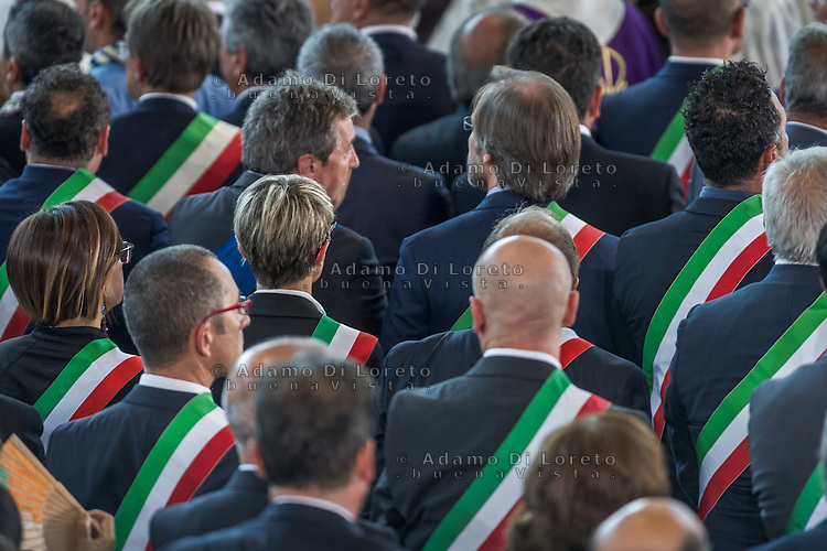 The mayors during the Funeral earthquake on PalaSport Monticelli in Ascoli Piceno  August 27, 2016, in Marche, Italy. Photo by Adamo Di Loreto