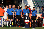 01 June 2016: Match officials (from left): Assistant referee Ben Jackson, referee Neil Barbulescu, fourth official Gustavo Solorio, and assistant referee Benjamin Wooten. The Carolina RailHawks hosted the Charlotte Independence at WakeMed Stadium in Cary, North Carolina in a 2016 Lamar Hunt U.S. Open Cup third round game. The RailHawks won 5-0 after extra time after regulation ended in a 0-0 tie.