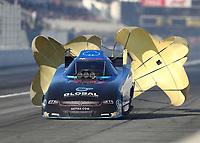 Feb 7, 2020; Pomona, CA, USA; NHRA funny car driver Paul Lee during qualifying for the Winternationals at Auto Club Raceway at Pomona. Mandatory Credit: Mark J. Rebilas-USA TODAY Sports