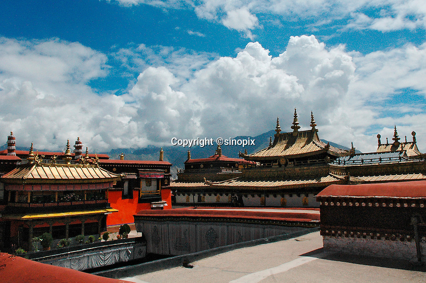 The rooftop of the 7th century Jokhang temple in Lhasa, Tibet. Jokhang Temple is Tibet's most sacred place of worship. .27 Jul 2006