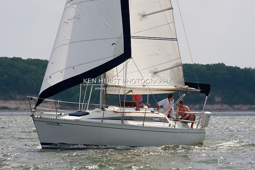 A Beneteau First 29 sailboat racing at the Chaos Cup, Lakefest Regatta at Lake Texoma, April 2011.