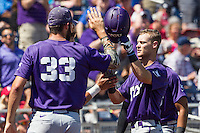 TCU Horned Frogs second baseman Cam Warner (4) is greeted by teammate Mitchell Traver (33) after hitting a home run against the Texas Tech Red Raiders in Game 3 of the NCAA College World Series on June 19, 2016 at TD Ameritrade Park in Omaha, Nebraska. TCU defeated Texas Tech 5-3. (Andrew Woolley/Four Seam Images)
