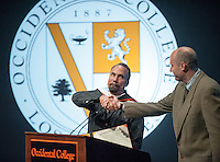 """Roger Guenveur Smith '77 performs """"The Watts Towers Project"""" in Keck Theater at Occidental College in Los Angeles on Friday, February 4, 2011. Smith received an honorary degree after his performance. The award-winning actor, playwright, and director is the 2011 G. William Hume Fellow in the Performing Arts. (Photo by Marc Campos, Occidental College Photographer)"""